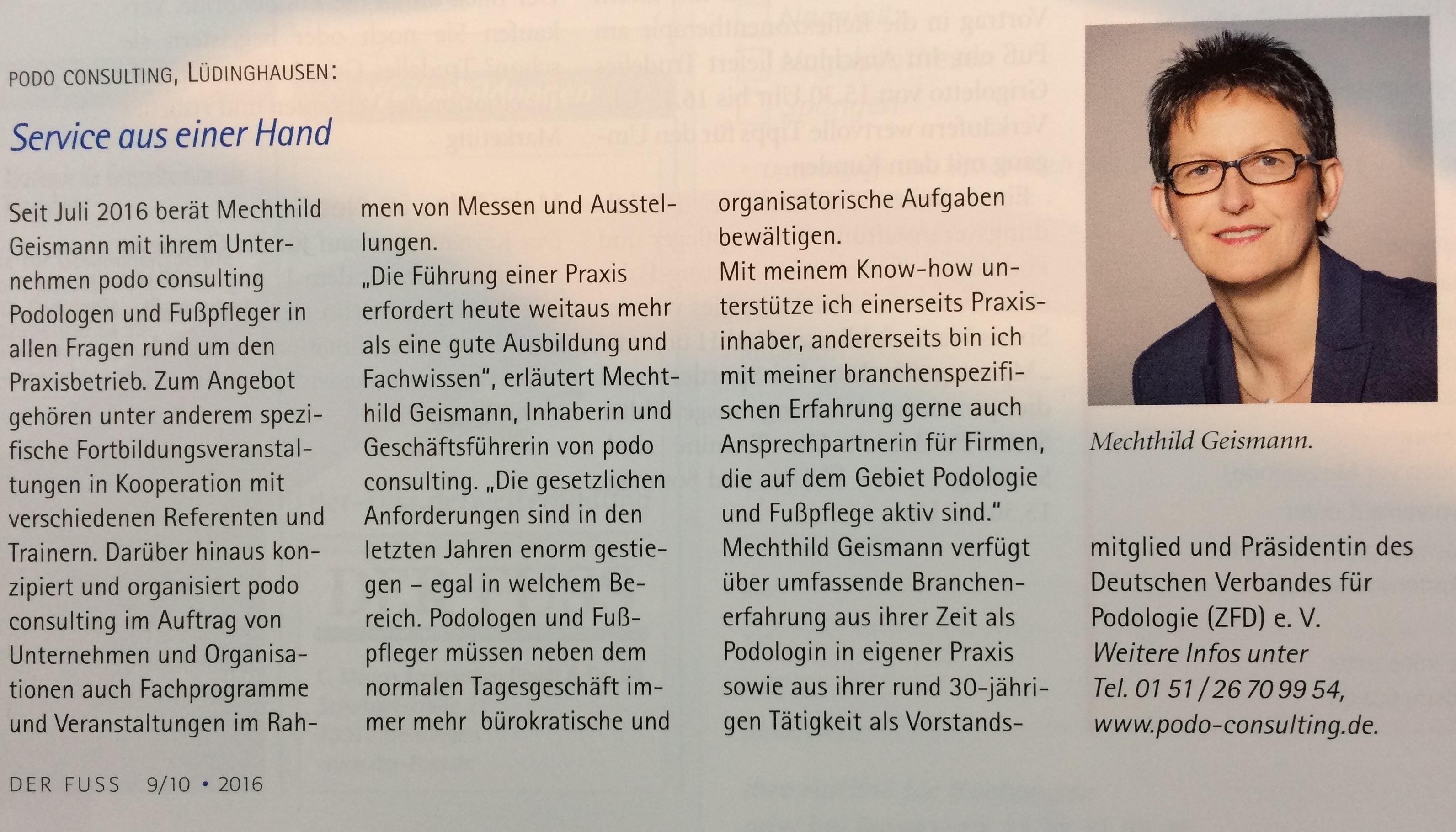 Panorama über podo consulting in DER FUSS - podo consulting